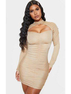 PrettyLittleThing ruched high neck keyhole bodycon dress