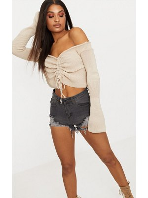 PrettyLittleThing ruched knit extreme sleeve crop sweater