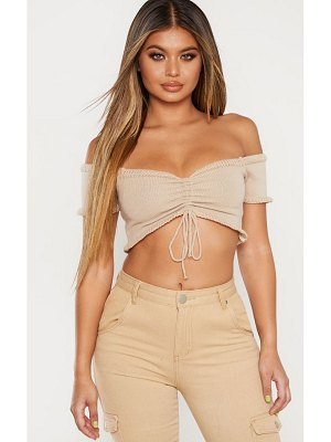 PrettyLittleThing ruched knit puff sleeve top