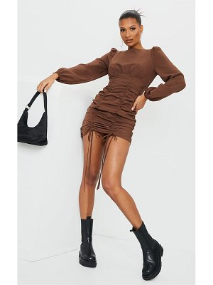 PrettyLittleThing ruched long sleeve bodycon dress