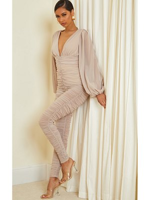 PrettyLittleThing ruched mesh balloon sleeve plunge jumpsuit