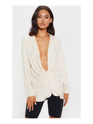 PrettyLittleThing ruched side plunge shirt