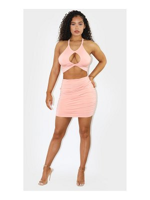 PrettyLittleThing ruched side slinky mini skirt