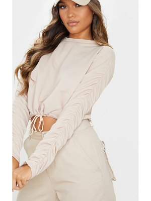 PrettyLittleThing ruched sleeve drawstring crop sweater