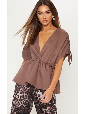 PrettyLittleThing ruched sleeve plunge blouse