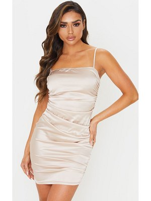 PrettyLittleThing ruched strappy satin bodycon dress