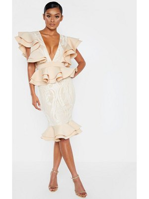 PrettyLittleThing ruffle detail plunge midi dress