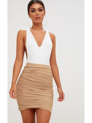 PrettyLittleThing sabina ruched layered slinky mini skirt