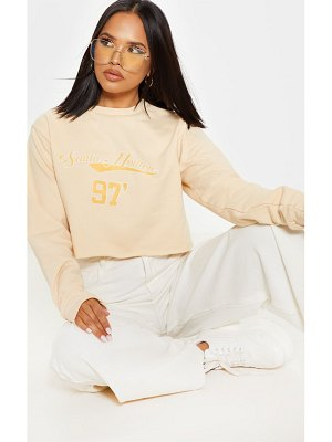 PrettyLittleThing santa monica slogan crop sweater