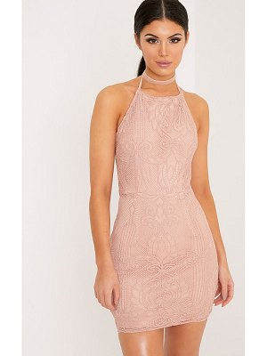 PrettyLittleThing sassia dusty pink halterneck strappy back lace dress