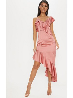 PrettyLittleThing satin asymmetric hem maxi dress