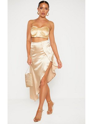 PrettyLittleThing satin asymmetric skirt