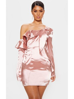 PrettyLittleThing satin asymmetric sleeve frill bodycon dress