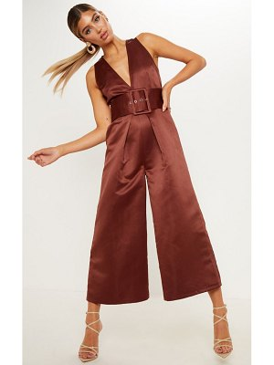 PrettyLittleThing satin belt culotte jumpsuit