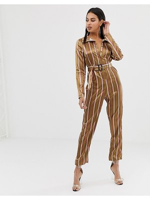 PrettyLittleThing satin belted jumpsuit