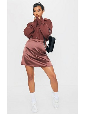 PrettyLittleThing satin bias cut mini skirt