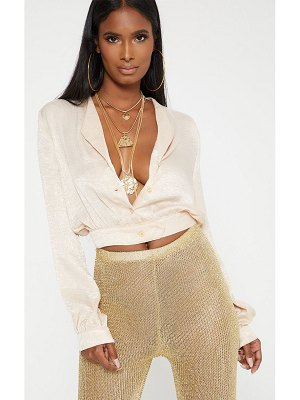 PrettyLittleThing satin button front crop shirt