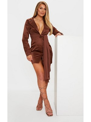 PrettyLittleThing satin chiffon drape blazer dress