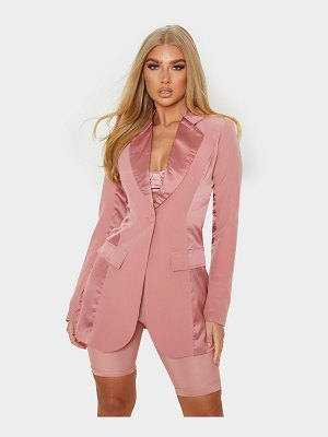 PrettyLittleThing satin contrast fitted longline blazer