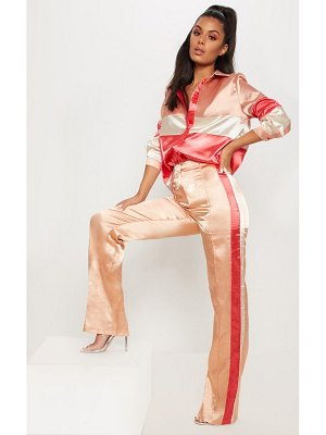 PrettyLittleThing satin contrast stripe wide leg pants