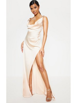 PrettyLittleThing satin cowl gold snake buckle detail maxi dress
