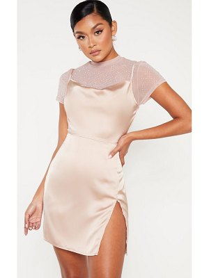 PrettyLittleThing satin cowl mesh diamante 2 in 1 bodycon dress