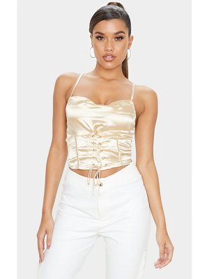 PrettyLittleThing satin cowl neck corset lace up cami