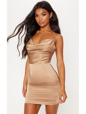 PrettyLittleThing satin cowl neck ring detail  bodycon dress