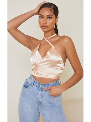 PrettyLittleThing satin cross tie detail crop top