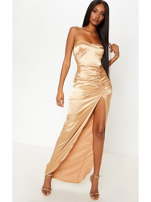 PrettyLittleThing satin cup detail ruched split leg maxi dress