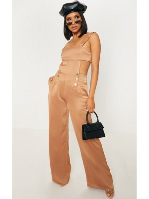 PrettyLittleThing satin cut out back wide leg jumpsuit