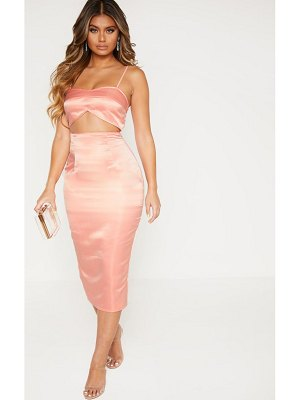 PrettyLittleThing satin cut out midi dress
