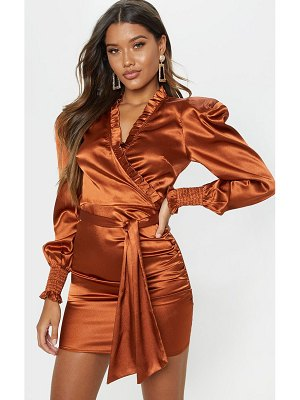 PrettyLittleThing satin frill detail ruched bodycon dress