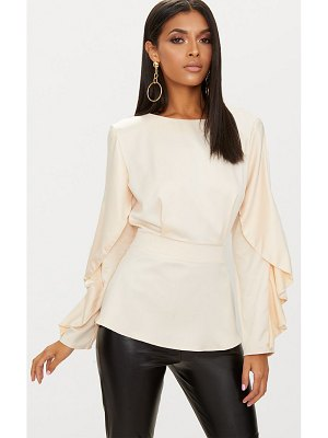 PrettyLittleThing satin frill sleeve fitted blouse
