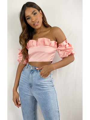 PrettyLittleThing satin frill top edge puff sleeve crop top