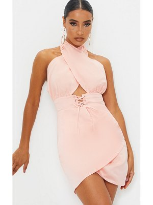 PrettyLittleThing satin halterneck lace up ruched bodycon dress