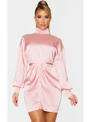 PrettyLittleThing satin high neck cut out waist long sleeve bodycon dress