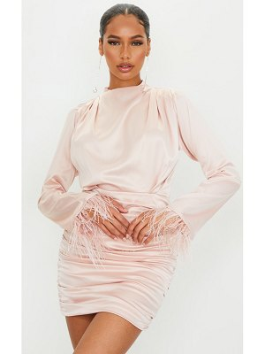 PrettyLittleThing satin high neck long sleeve feather cuff bodycon dress