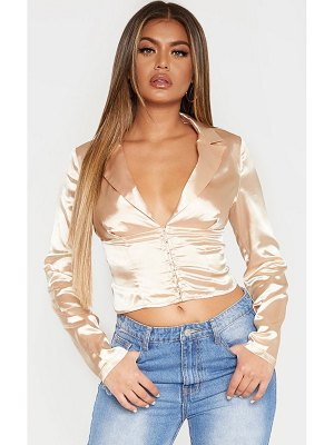 PrettyLittleThing satin hook and eye corset shirt