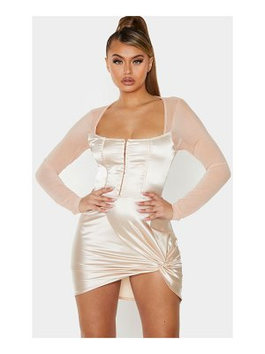 PrettyLittleThing satin hook & eye mesh sleeve bodycon dress