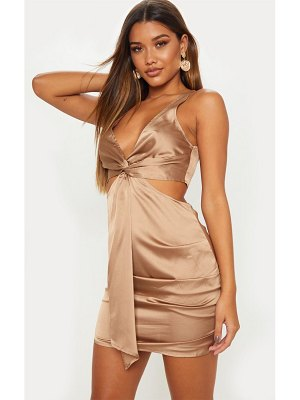 PrettyLittleThing satin knot detail cut out bodycon dress