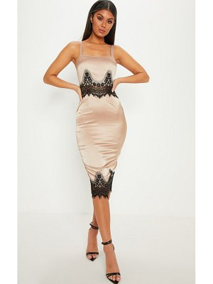 PrettyLittleThing satin lace detail midi dress