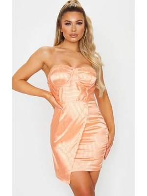 PrettyLittleThing satin lined lace trim cup detail wrap bodycon dress