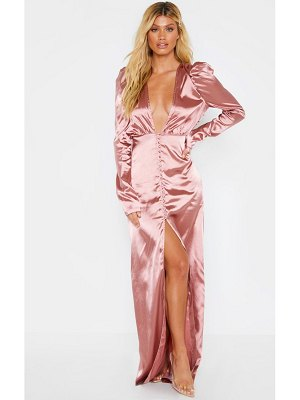 PrettyLittleThing satin long sleeve button through maxi dress