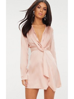 PrettyLittleThing satin long sleeve wrap dress