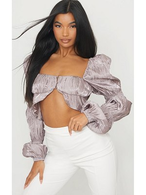 PrettyLittleThing satin metallic pleated bardot cropped blouse