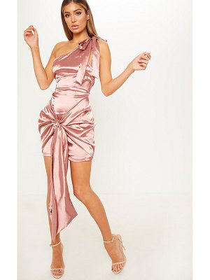 PrettyLittleThing satin one shoulder knot detail bodycon dress