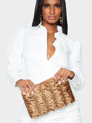 PrettyLittleThing satin oversized ruched clutch