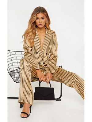 PrettyLittleThing satin pin stripe double breasted blazer