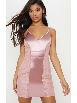 PrettyLittleThing satin piped lace insert bodycon dress